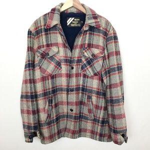 Vintage Sears Mens Plaid Flannel Fleece Coat M